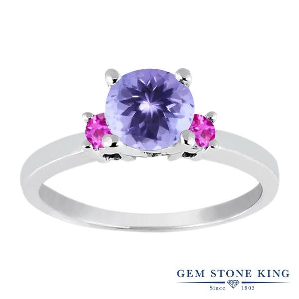 Gem Stone King 1.06カラット 天然石 タンザナイト 天然 ピンクサファイア シルバー925 指輪 リング レディース シンプル スリーストーン 天然石 12月 誕生石 金属アレルギー対応 婚約指輪 エンゲージリング