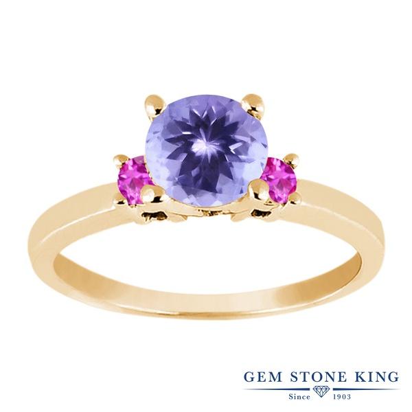 Gem Stone King 1.06カラット 天然石 タンザナイト 天然 ピンクサファイア シルバー925 イエローゴールドコーティング 指輪 リング レディース シンプル スリーストーン 天然石 12月 誕生石 金属アレルギー対応 誕生日プレゼント