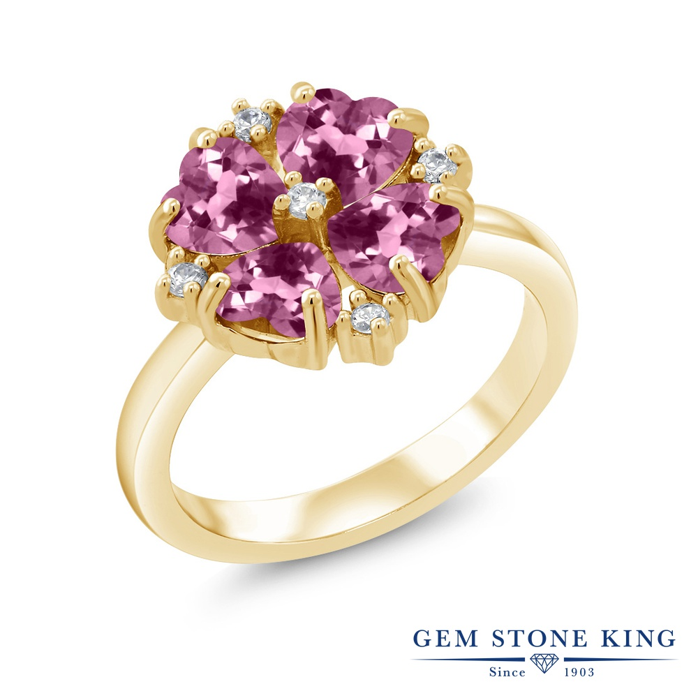 Gem Stone King 1.84カラット 天然 ピンクトルマリン シルバー925 イエローゴールドコーティング 指輪 リング レディース 小粒 カクテル 天然石 10月 誕生石 金属アレルギー対応 誕生日プレゼント