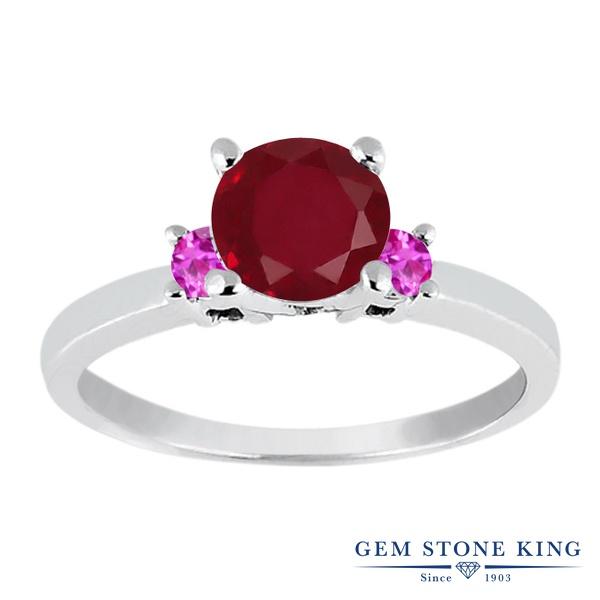 Gem Stone King 1.21カラット 天然 ルビー 天然 ピンクサファイア シルバー925 指輪 リング レディース 大粒 シンプル スリーストーン 天然石 7月 誕生石 金属アレルギー対応 婚約指輪 エンゲージリング