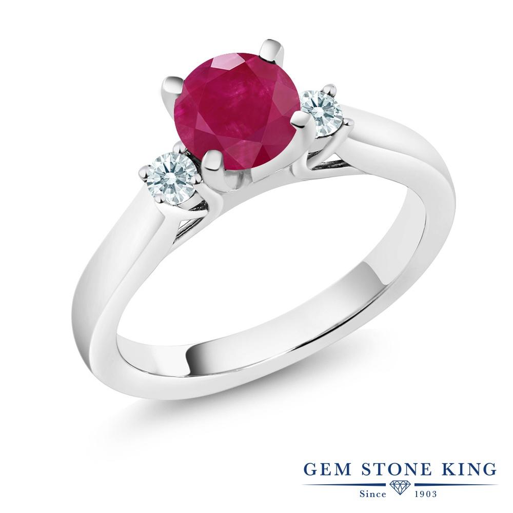 Gem Stone King 1.22カラット 天然 ルビー シルバー925 指輪 リング レディース 大粒 スリーストーン シンプル 天然石 7月 誕生石 金属アレルギー対応 婚約指輪 エンゲージリング