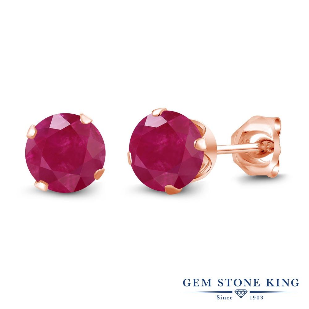 Gem Stone King 1.1カラット 天然 ルビー シルバー925 ピンクゴールドコーティング ピアス レディース シンプル スタッド 天然石 7月 誕生石 金属アレルギー対応 誕生日プレゼント