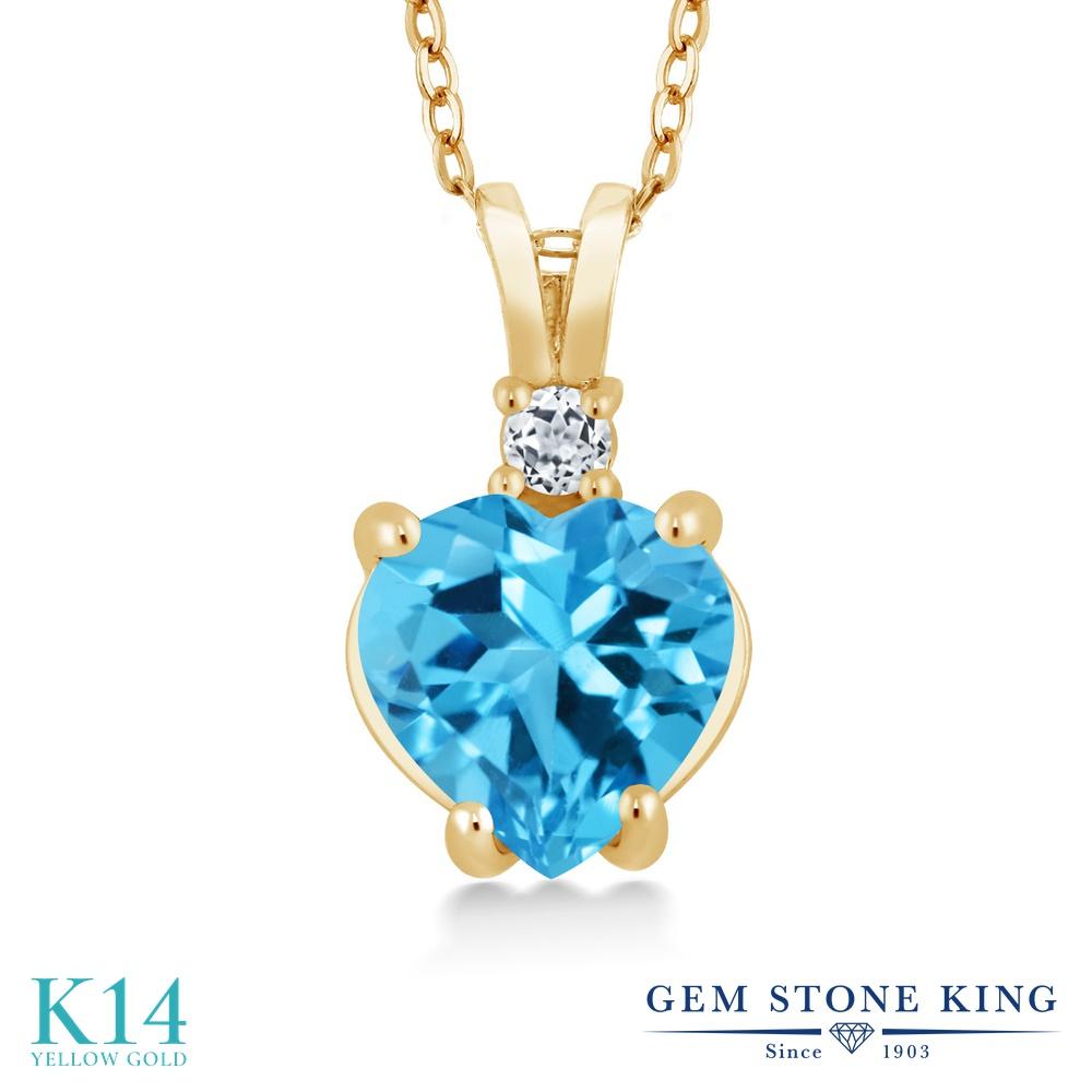 Gem Stone King 2.33カラット 天然 スイスブルートパーズ 天然 トパーズ (無色透明) 14金 イエローゴールド(K14) ネックレス ペンダント レディース 大粒 シンプル 天然石 11月 誕生石 金属アレルギー対応 誕生日プレゼント