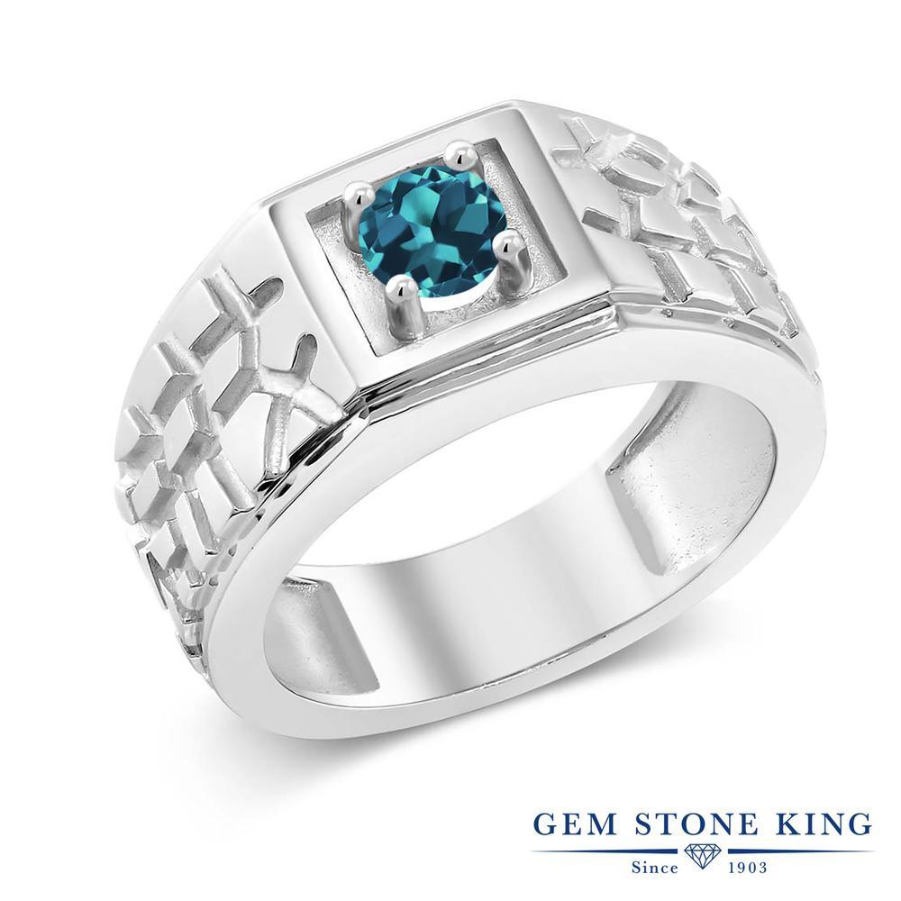 Gem Stone King 0.55カラット 天然トパーズ(ロンドンブルー) シルバー925 指輪 リング レディース 一粒 シンプル ソリティア 天然石 誕生石 金属アレルギー対応 誕生日プレゼント