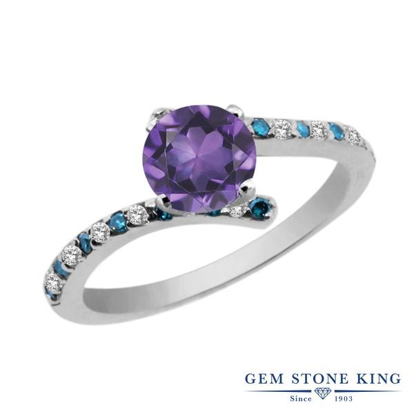 Gem Stone King 1.06カラット 天然 アメジスト 天然 トパーズ (無色透明) 天然 ブルーダイヤモンド シルバー925 指輪 リング レディース 天然石 2月 誕生石 金属アレルギー対応 婚約指輪 エンゲージリング