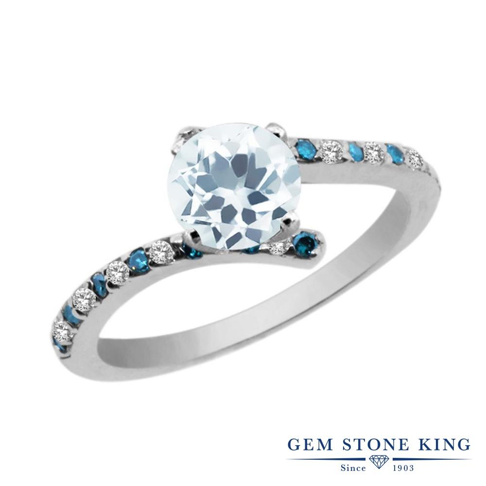 Gem Stone King 1.06カラット 天然 アクアマリン 天然 トパーズ (無色透明) 天然 ブルーダイヤモンド シルバー925 指輪 リング レディース 天然石 3月 誕生石 金属アレルギー対応 婚約指輪 エンゲージリング
