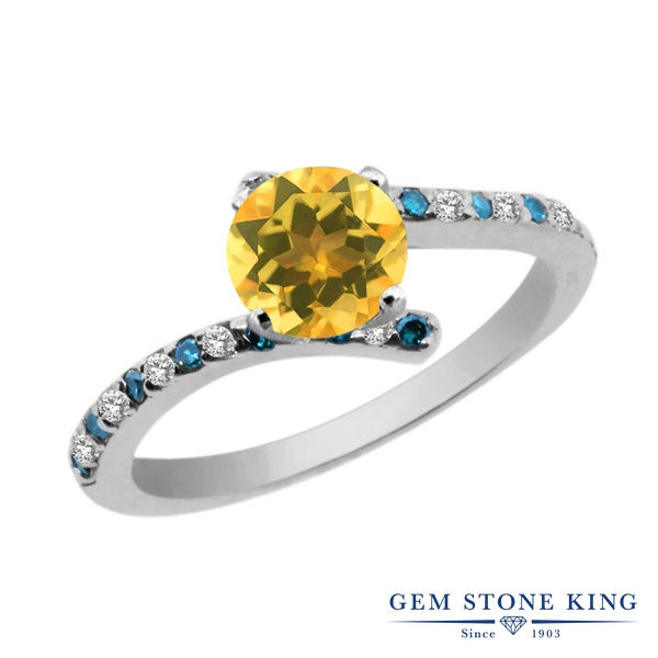 【10%OFF】 Gem Stone King 1.01カラット 天然 シトリン トパーズ ブルーダイヤモンド 指輪 リング レディース シルバー925 天然石 11月 誕生石 婚約指輪 エンゲージリング