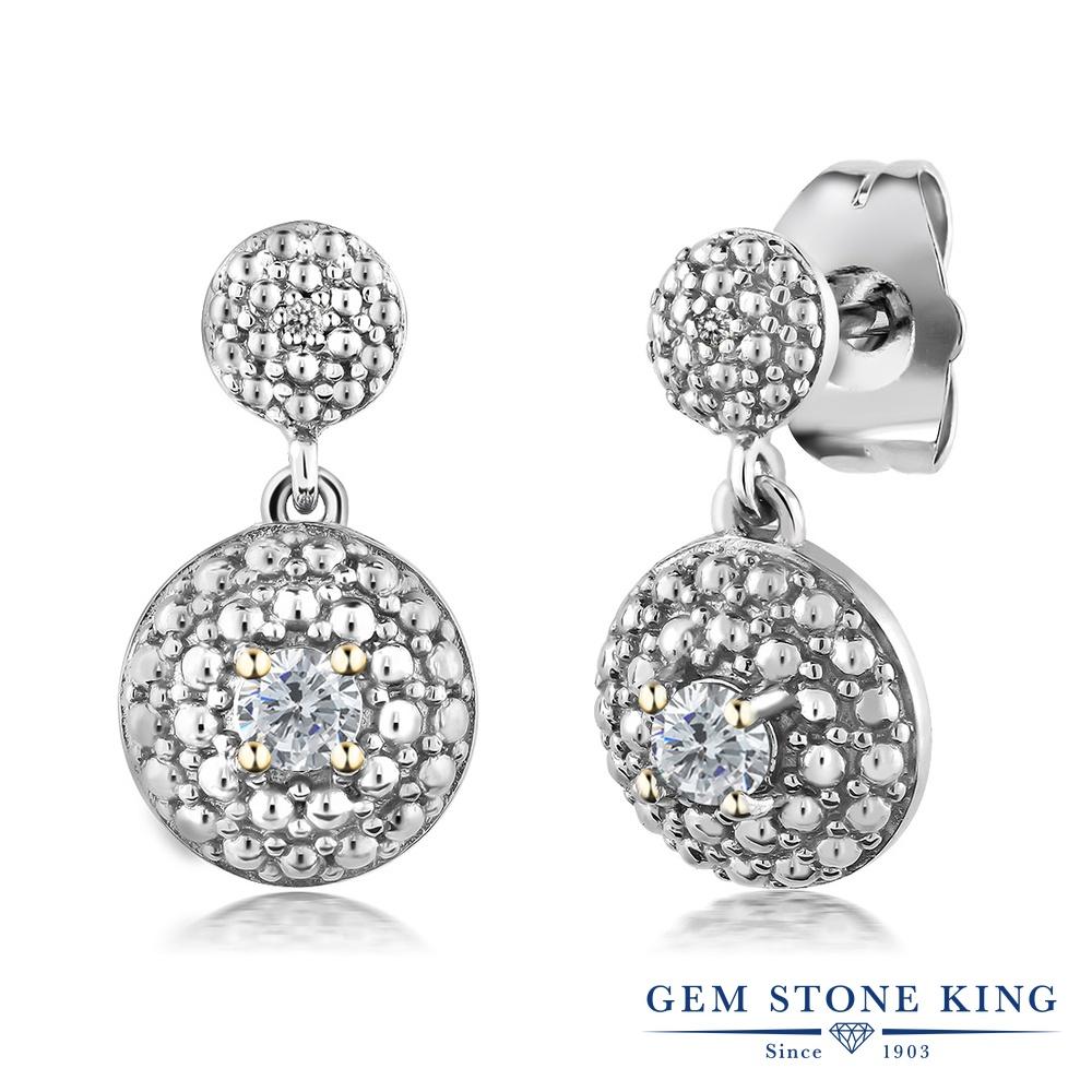 Gem Stone King 0.21カラット 天然 ダイヤモンド ロジウム プレーティング ピアス レディース ダイヤ 小粒 ぶら下がり 天然石 4月 誕生石 金属アレルギー対応 誕生日プレゼント