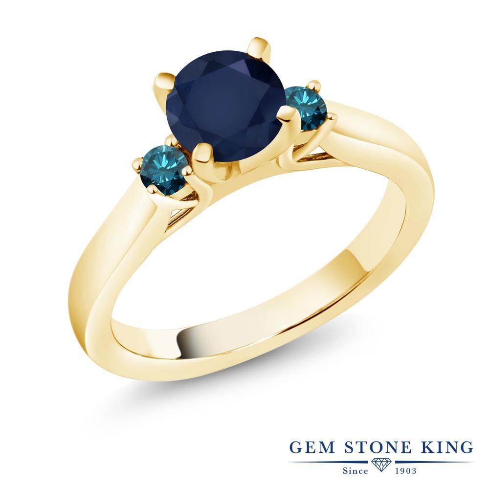 1.2カラット 天然 サファイア ブルーダイヤモンド 指輪 リング レディース シルバー925 イエローゴールド 加工 大粒 スリーストーン シンプル 天然石 9月 誕生石 婚約指輪 エンゲージリング