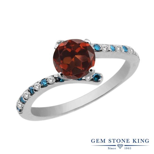 Gem Stone King 1.31カラット 天然 ガーネット 天然 トパーズ (無色透明) 天然 ブルーダイヤモンド シルバー925 指輪 リング レディース 大粒 天然石 1月 誕生石 金属アレルギー対応 婚約指輪 エンゲージリング