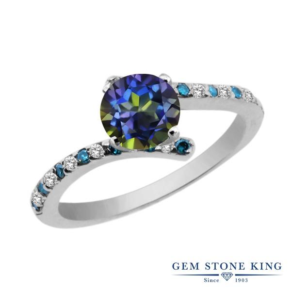 Gem Stone King 1.11カラット 天然石 ミスティックトパーズ (ブルー) 天然 トパーズ (無色透明) 天然 ブルーダイヤモンド シルバー925 指輪 リング レディース 天然石 金属アレルギー対応 婚約指輪 エンゲージリング