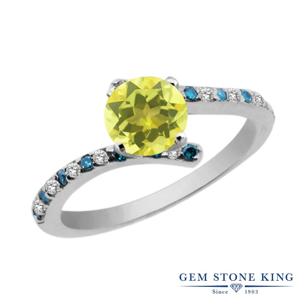 Gem Stone King 1.31カラット 天然石 ミスティックトパーズ (イエロー) 天然 トパーズ (無色透明) 天然 ブルーダイヤモンド シルバー925 指輪 リング レディース 大粒 天然石 金属アレルギー対応 婚約指輪 エンゲージリング