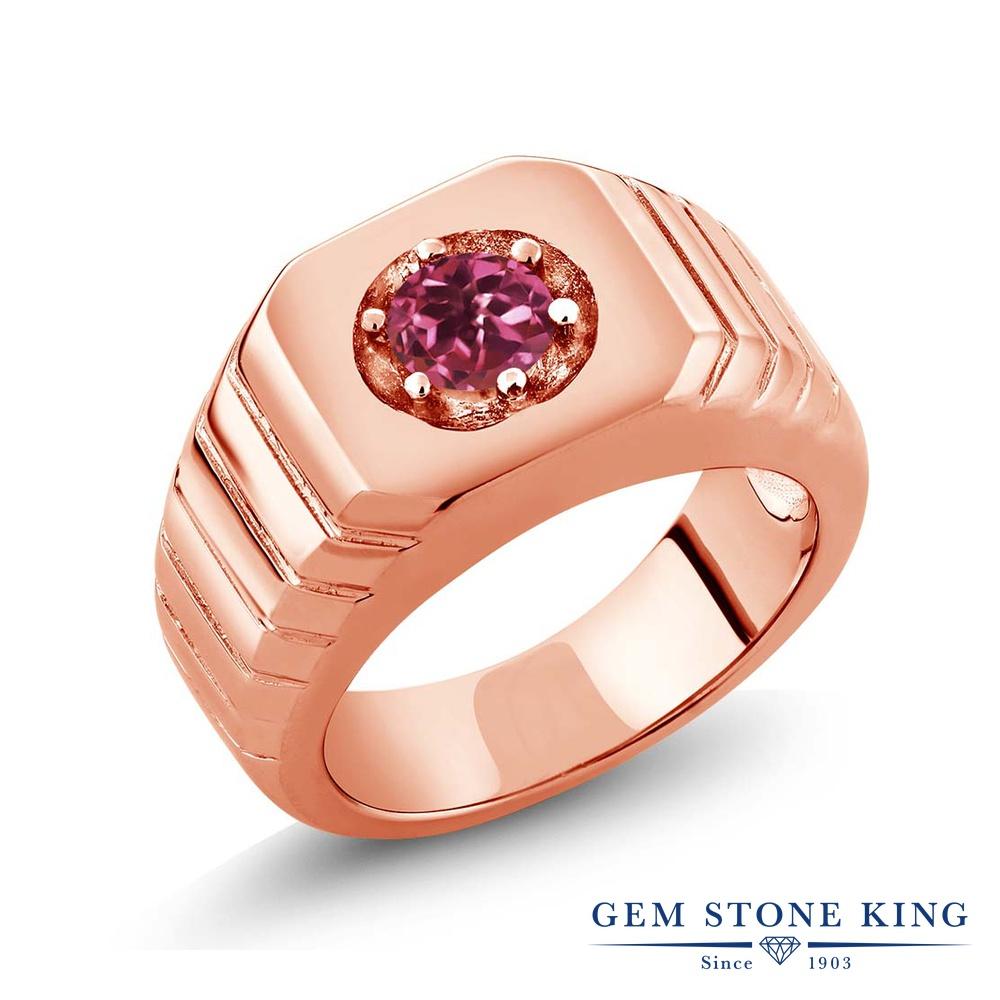 Gem Stone King 0.5カラット AAグレード 天然 ピンクトルマリン シルバー925 ピンクゴールドコーティング 指輪 リング レディース 小粒 一粒 シンプル ソリティア 天然石 金属アレルギー対応 誕生日プレゼント