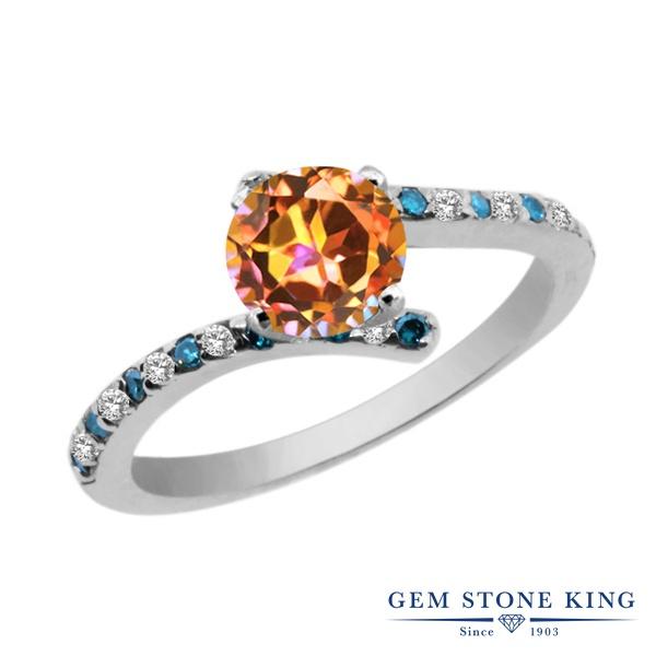 Gem Stone King 1.26カラット 天然石 エクスタシーミスティックトパーズ 天然 トパーズ (無色透明) 天然 ブルーダイヤモンド シルバー925 指輪 リング レディース 天然石 金属アレルギー対応 婚約指輪 エンゲージリング