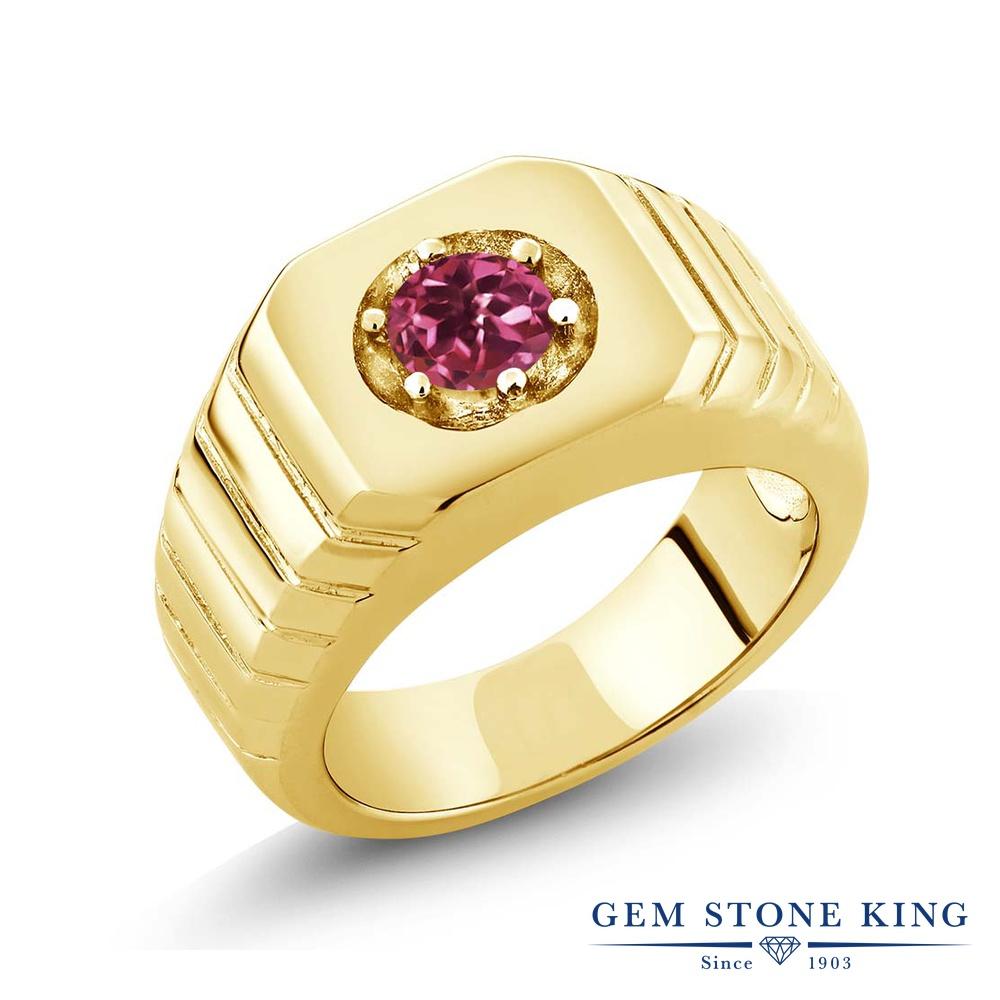 Gem Stone King 0.5カラット AAグレード 天然 ピンクトルマリン シルバー925 イエローゴールドコーティング 指輪 リング レディース 小粒 一粒 シンプル ソリティア 天然石 金属アレルギー対応 誕生日プレゼント