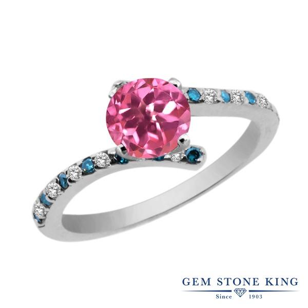 Gem Stone King 1.31カラット 天然 ミスティックトパーズ (ピンク) 天然 トパーズ (無色透明) 天然 ブルーダイヤモンド シルバー925 指輪 リング レディース 大粒 天然石 金属アレルギー対応 婚約指輪 エンゲージリング