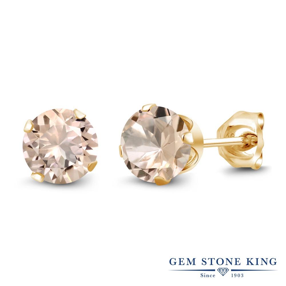 Gem Stone King 1.2カラット 天然 モルガナイト (ピーチ) シルバー925 イエローゴールドコーティング ピアス レディース シンプル スタッド 天然石 3月 誕生石 金属アレルギー対応 誕生日プレゼント