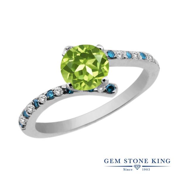 Gem Stone King 1.21カラット 天然石 ペリドット 天然 トパーズ (無色透明) 天然 ブルーダイヤモンド シルバー925 指輪 リング レディース 天然石 8月 誕生石 金属アレルギー対応 婚約指輪 エンゲージリング