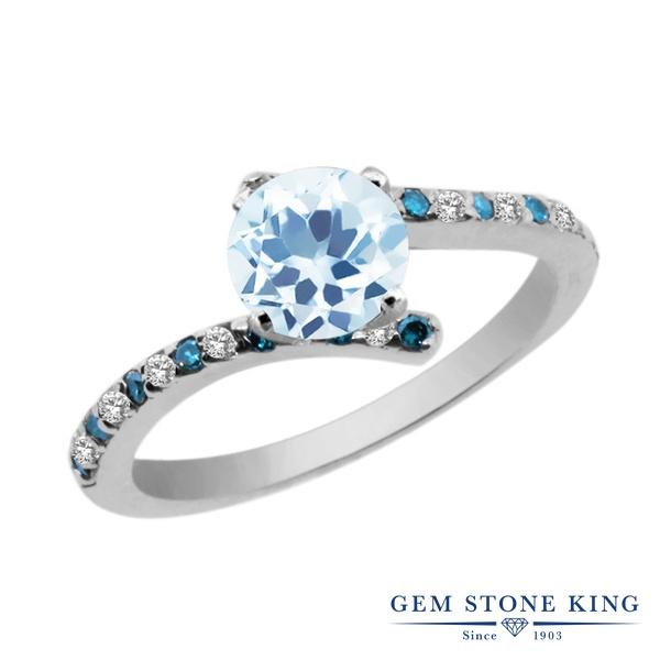 Gem Stone King 1.51カラット 天然 スカイブルートパーズ 天然 トパーズ (無色透明) 天然 ブルーダイヤモンド シルバー925 指輪 リング レディース 大粒 天然石 11月 誕生石 金属アレルギー対応 婚約指輪 エンゲージリング