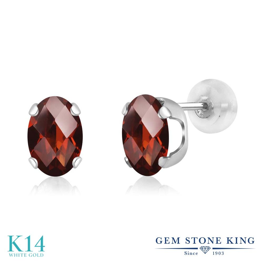 Gem Stone King 1.6カラット 天然 ガーネット 14金 ホワイトゴールド(K14) ピアス レディース シンプル スタッド 天然石 1月 誕生石 金属アレルギー対応 誕生日プレゼント