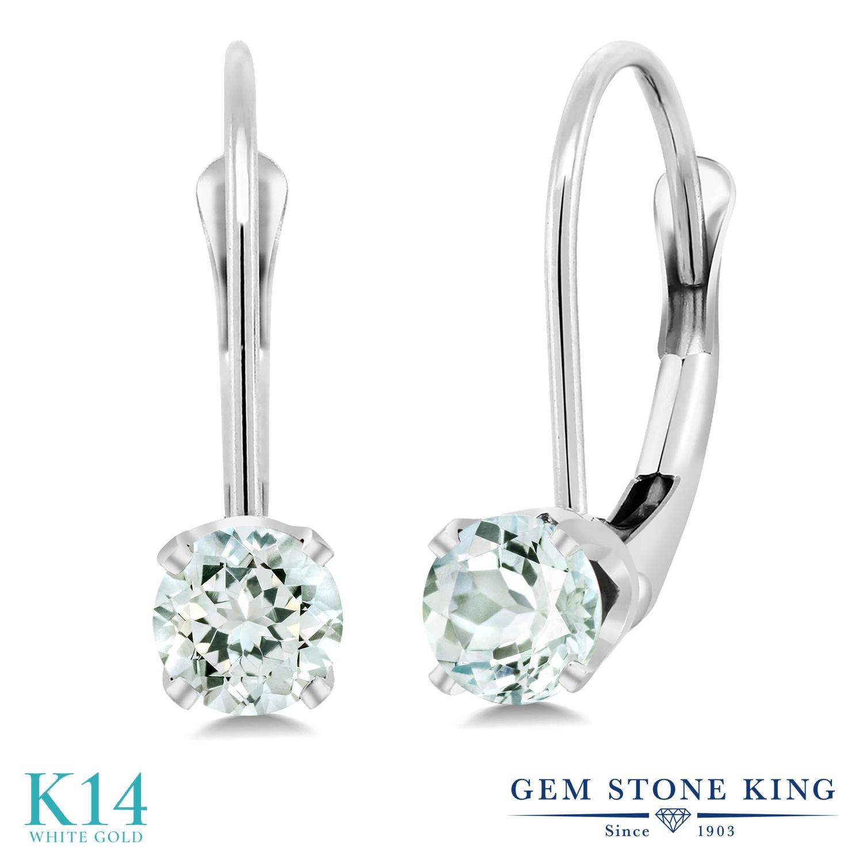 Gem Stone King 0.44カラット 天然 アクアマリン 14金 ホワイトゴールド(K14) ピアス レディース 小粒 シンプル ぶら下がり レバーバック 天然石 3月 誕生石 金属アレルギー対応 誕生日プレゼント