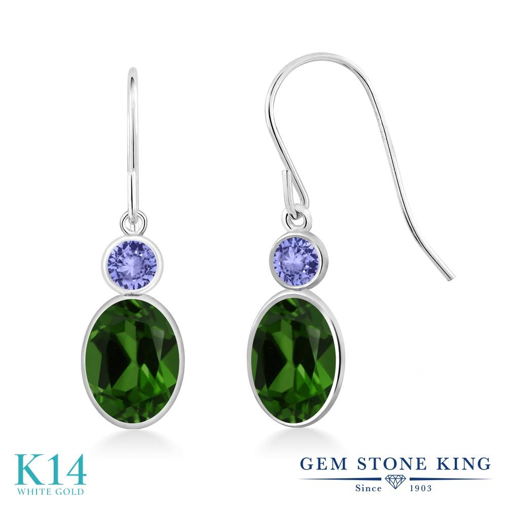 Gem Stone King 1.84カラット 天然 クロムダイオプサイド 天然石 タンザナイト 14金 ホワイトゴールド(K14) ピアス レディース ぶら下がり フレンチワイヤー 天然石 金属アレルギー対応 誕生日プレゼント