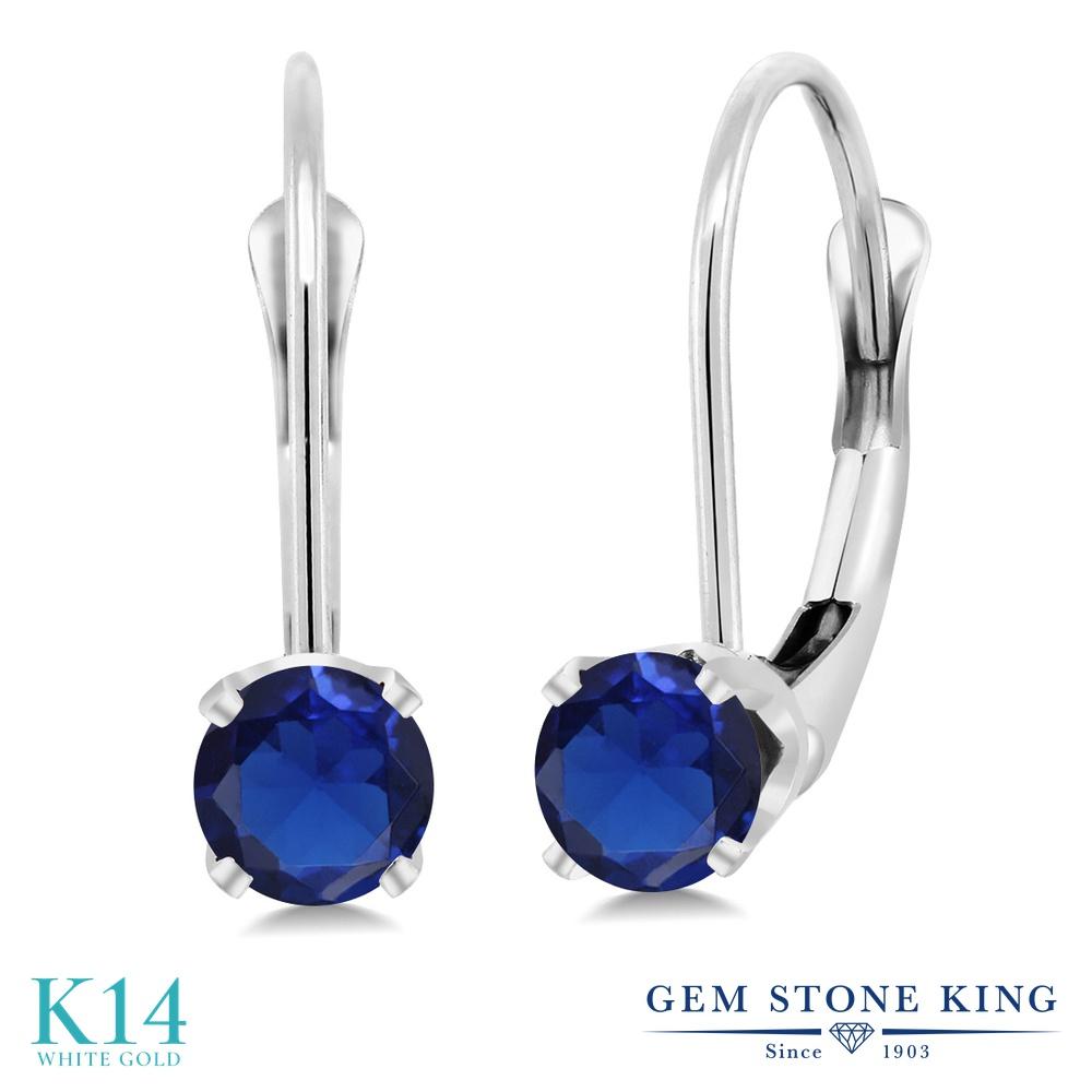 Gem Stone King 0.5カラット シミュレイテッド サファイア 14金 ホワイトゴールド(K14) ピアス レディース 小粒 シンプル ぶら下がり レバーバック 金属アレルギー対応 誕生日プレゼント