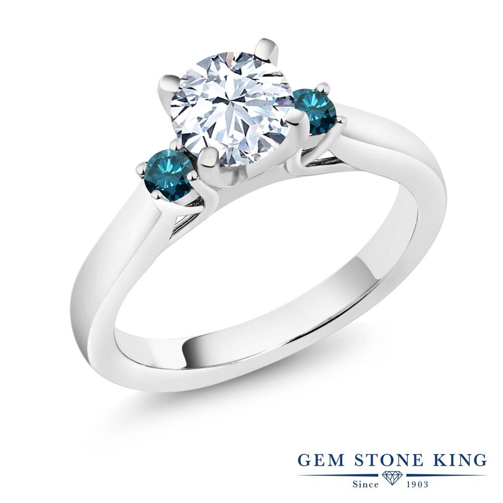 1.4カラット 合成ホワイトサファイア 指輪 レディース リング 天然 ブルーダイヤモンド シルバー925 ブランド おしゃれ スリーストーン 白 大粒 シンプル 婚約指輪 エンゲージリング
