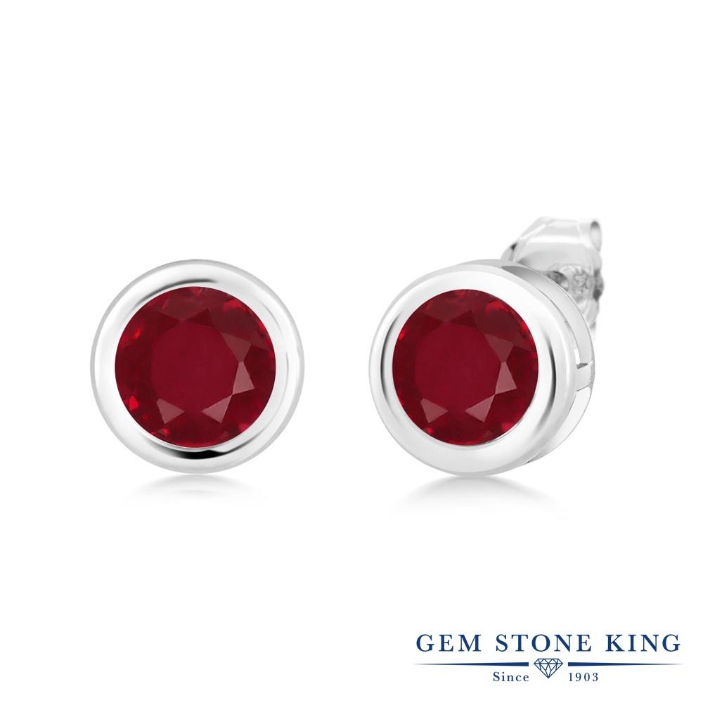 Gem Stone King 2.8カラット 天然 ルビー シルバー925(純銀) ピアス レディース 大粒 シンプル スタッド 天然石 7月 誕生石 金属アレルギー対応 誕生日プレゼント