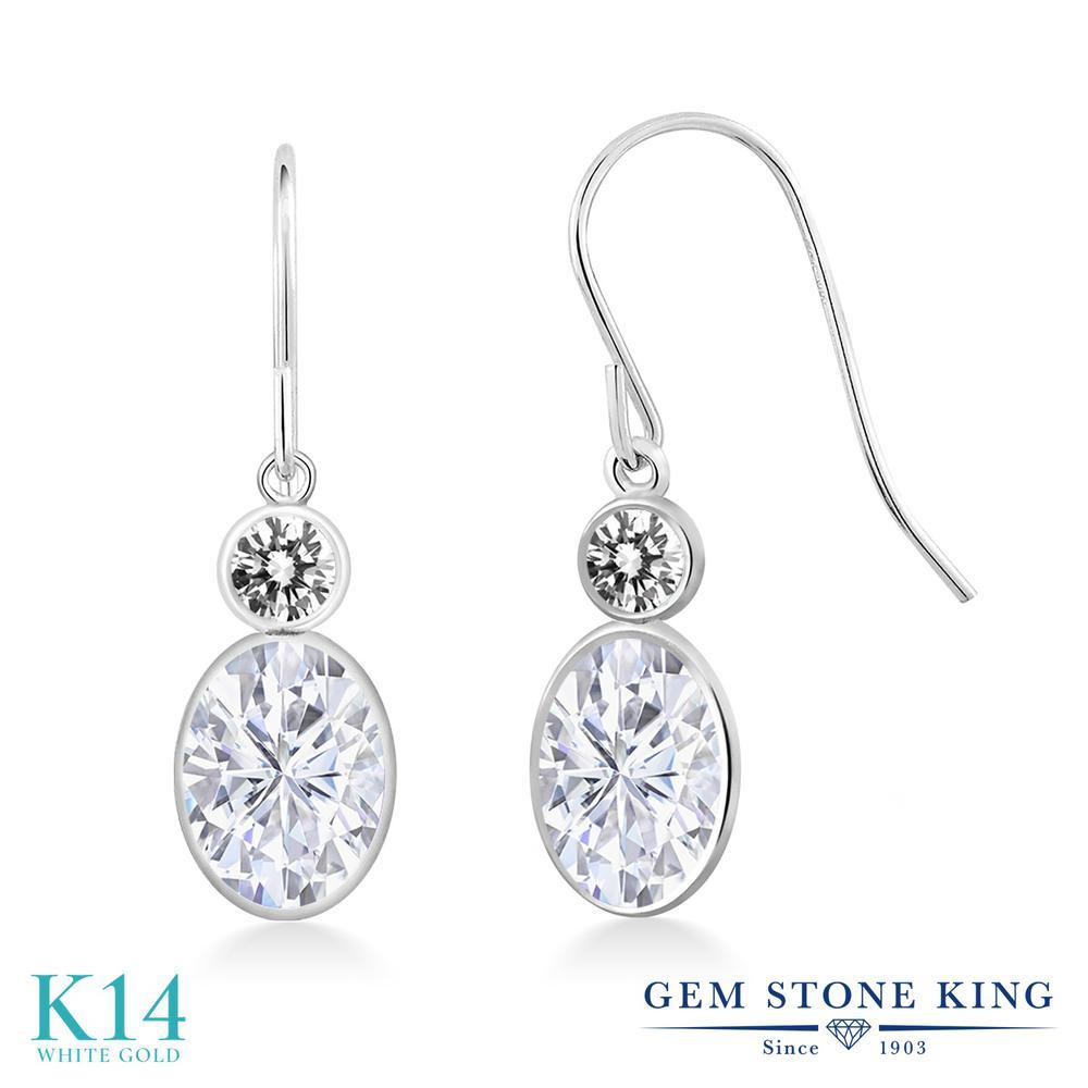 Gem Stone King 2カラット Forever One GHI モアッサナイト Charles & Colvard 天然 ダイヤモンド 14金 ホワイトゴールド(K14) ピアス レディース モアサナイト ぶら下がり フレンチワイヤー 金属アレルギー対応 誕生日プレゼント