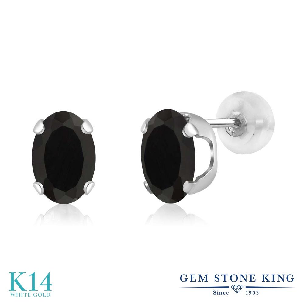 Gem Stone King 1.6カラット 天然 オニキス 14金 ホワイトゴールド(K14) ピアス レディース シンプル スタッド 天然石 8月 誕生石 金属アレルギー対応 誕生日プレゼント