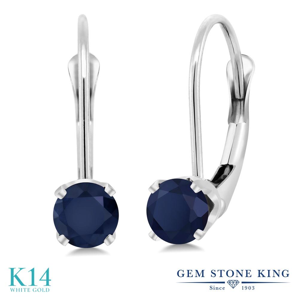 Gem Stone King 0.72カラット 天然サファイア 14金 ホワイトゴールド(K14) ピアス レディース 小粒 シンプル ぶら下がり レバーバック 天然石 誕生石 金属アレルギー対応 誕生日プレゼント