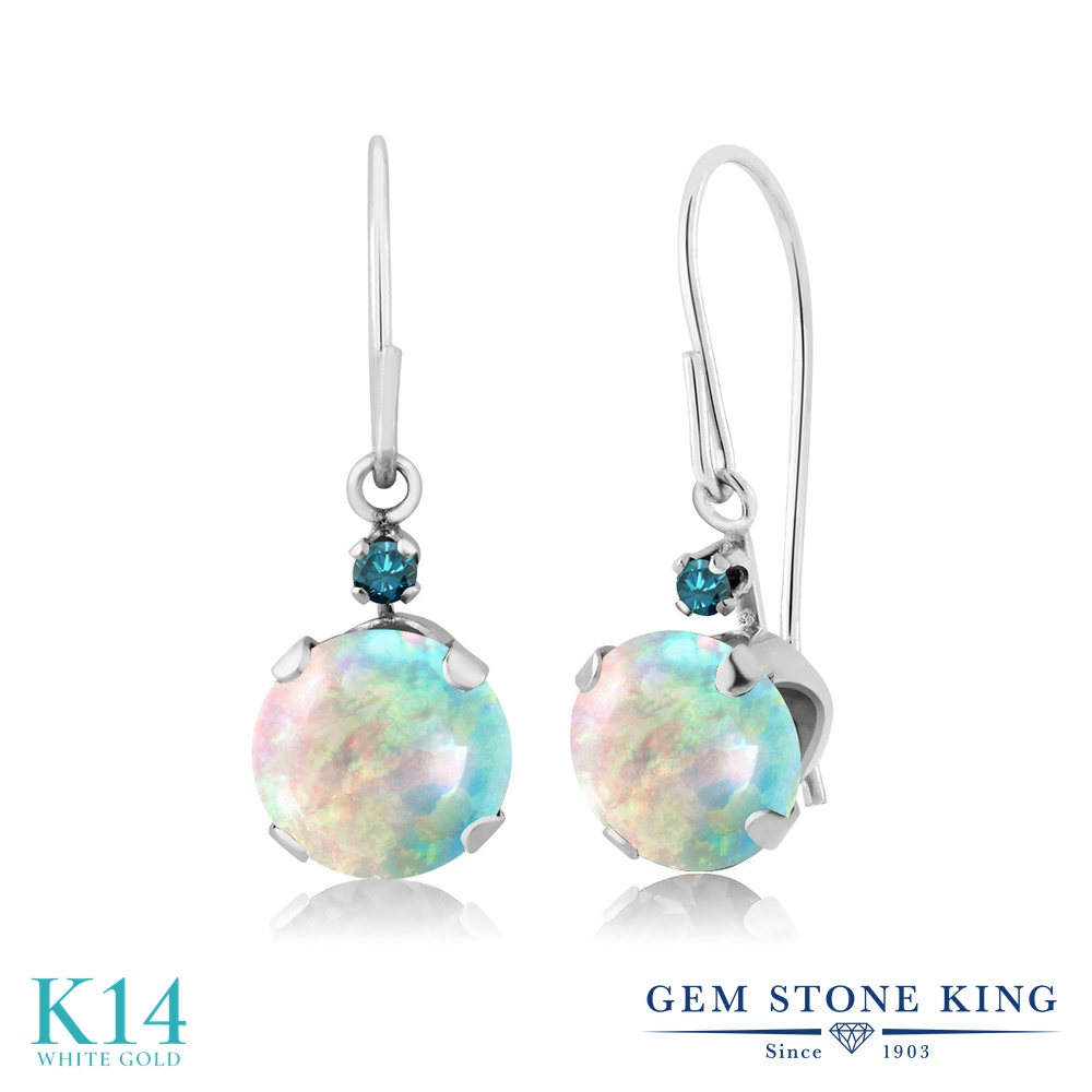 Gem Stone King 1.33カラット シミュレイテッドホワイトオパール 14金 ホワイトゴールド(K14) 天然ブルーダイヤモンド ピアス レディース ぶら下がり アメリカン フック 誕生石 金属アレルギー対応 誕生日プレゼント