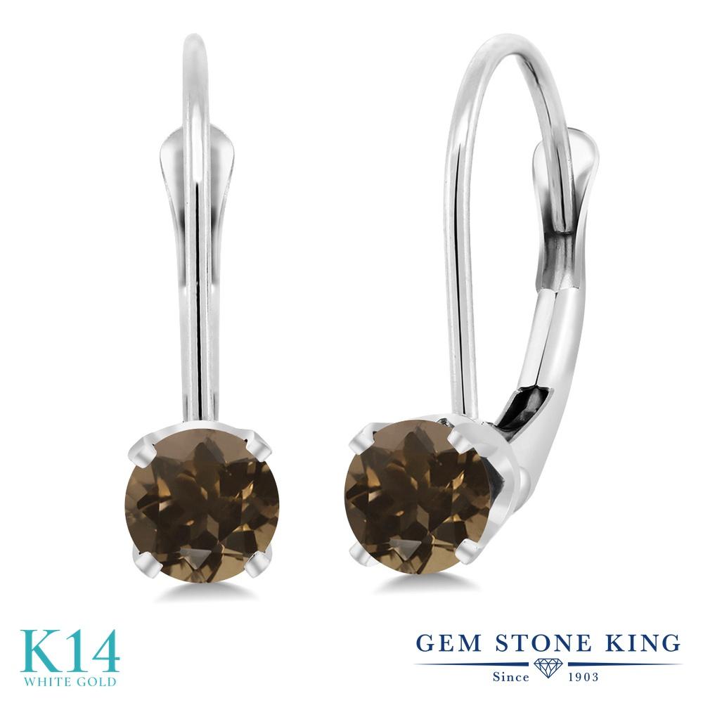 Gem Stone King 0.52カラット 天然 スモーキークォーツ (ブラウン) 14金 ホワイトゴールド(K14) ピアス レディース 小粒 シンプル ぶら下がり レバーバック 天然石 金属アレルギー対応 誕生日プレゼント