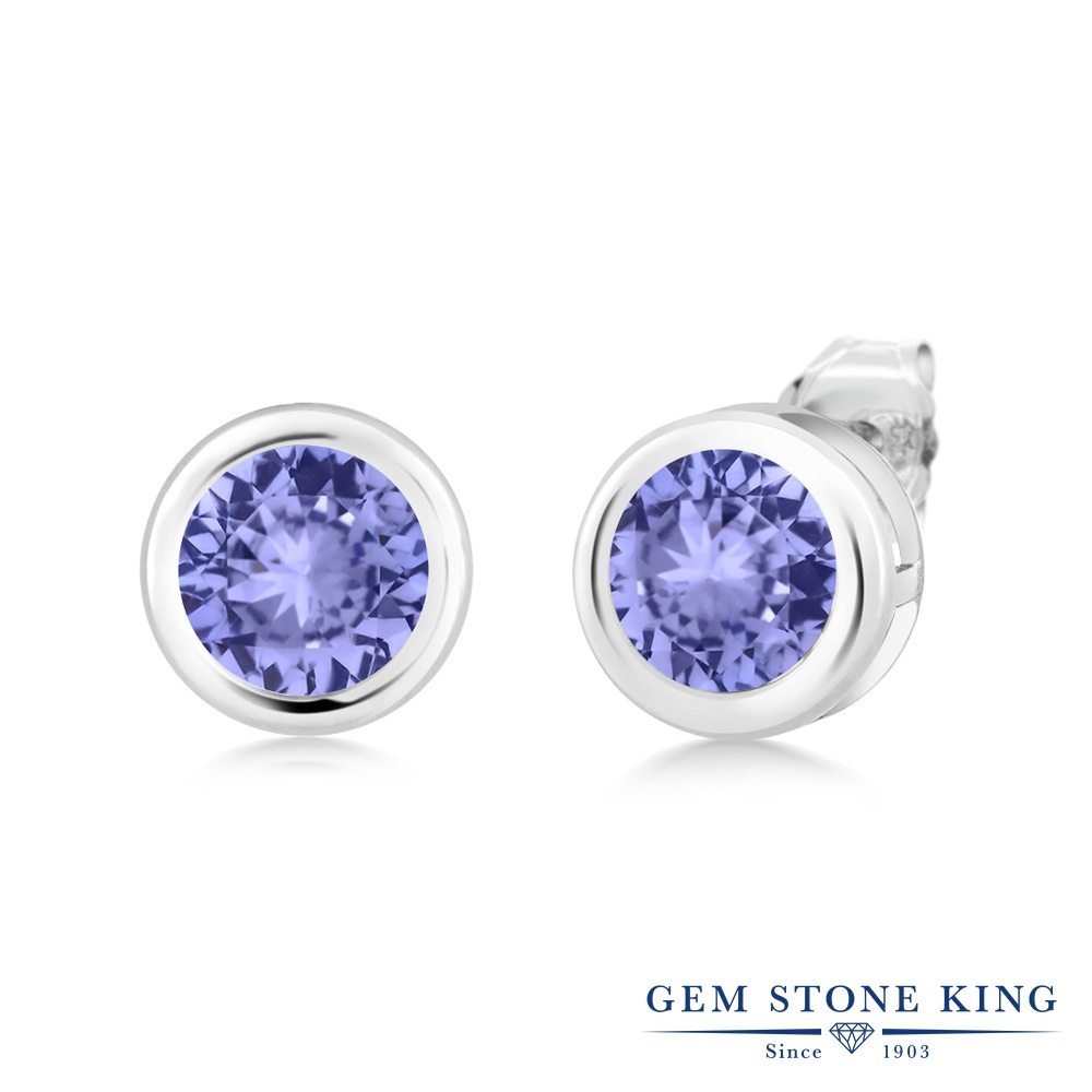Gem Stone King 1.8カラット 天然石 タンザナイト シルバー925(純銀) ピアス レディース 大粒 シンプル スタッド 天然石 12月 誕生石 金属アレルギー対応 誕生日プレゼント