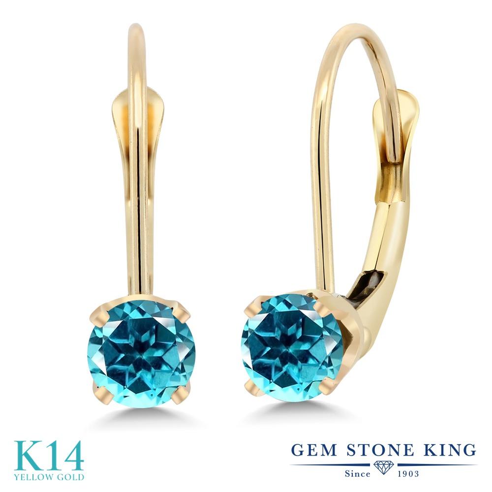 Gem Stone King 0.6カラット 天然石 パライバトパーズ (スワロフスキー 天然石) ピアス レディース 14金 イエローゴールド K14 小粒 シンプル ぶら下がり レバーバック 金属アレルギー対応