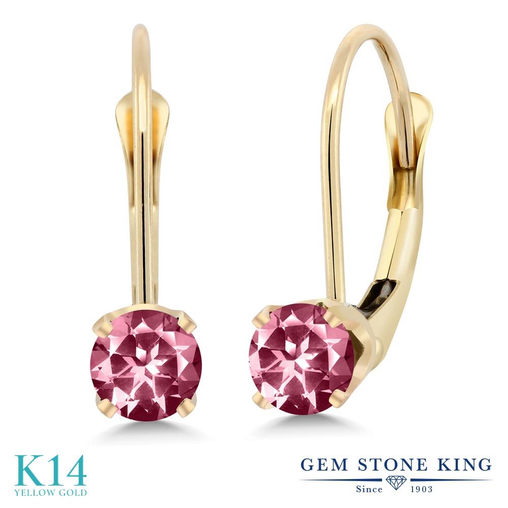 Gem Stone King 0.60カラット 天然石ピンクトパーズ(スワロフスキー 天然石シリーズ) 14金 イエローゴールド(K14) ピアス レディース 小粒 シンプル ぶら下がり レバーバック 天然石 金属アレルギー対応 誕生日プレゼント