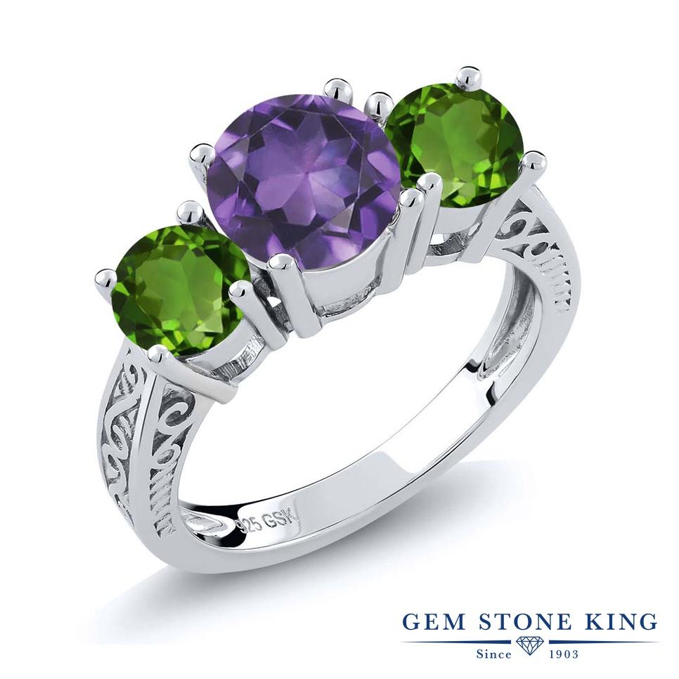 Gem Stone King 2.10カラット 天然アメジスト 天然クロムダイオプサイド シルバー925 指輪 リング レディース 大粒 スリーストーン シンプル 天然石 誕生石 金属アレルギー対応 誕生日プレゼント