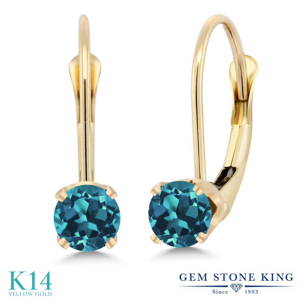 Gem Stone King 0.6カラット 天然 ロンドンブルートパーズ 14金 イエローゴールド(K14) ピアス レディース 小粒 シンプル ぶら下がり レバーバック 天然石 11月 誕生石 金属アレルギー対応 誕生日プレゼント