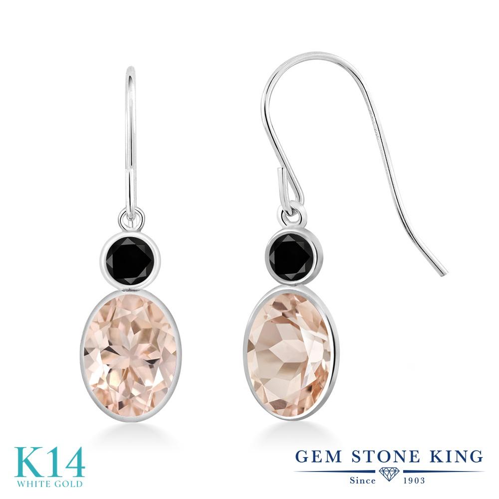 Gem Stone King 1.5カラット 天然 モルガナイト (ピーチ) 天然ブラックダイヤモンド 14金 ホワイトゴールド(K14) ピアス レディース ぶら下がり フレンチワイヤー 華奢 細身 天然石 3月 誕生石 金属アレルギー対応 誕生日プレゼント