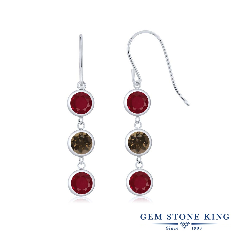 Gem Stone King 3.12カラット 天然 ルビー 天然 スモーキークォーツ (ブラウン) シルバー925 ピアス レディース ぶら下がり フレンチワイヤー 華奢 細身 天然石 7月 誕生石 金属アレルギー対応 誕生日プレゼント