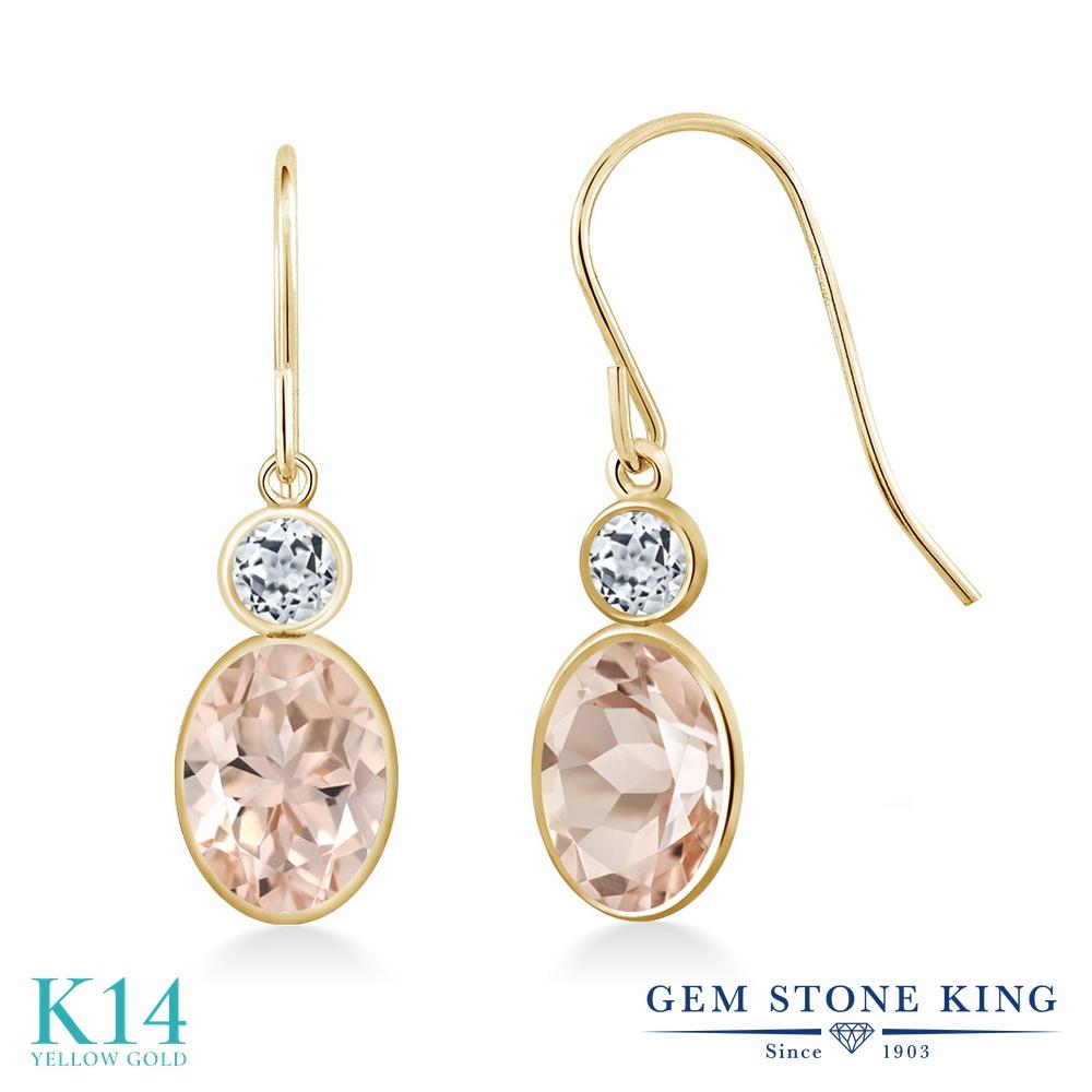 Gem Stone King 1.58カラット 天然モルガナイト(ピーチ) 天然トパーズ(無色透明) 14金 イエローゴールド(K14) ピアス レディース ぶら下がり フレンチワイヤー 天然石 誕生石 金属アレルギー対応 誕生日プレゼント
