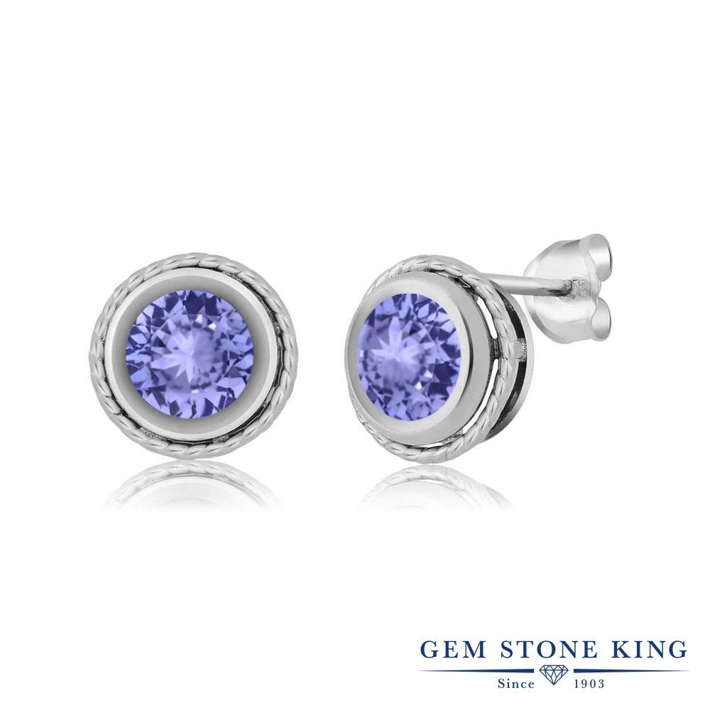Gem Stone King 1.6カラット 天然石 タンザナイト シルバー925(純銀) ピアス レディース 大粒 シンプル スタッド 天然石 12月 誕生石 金属アレルギー対応 誕生日プレゼント