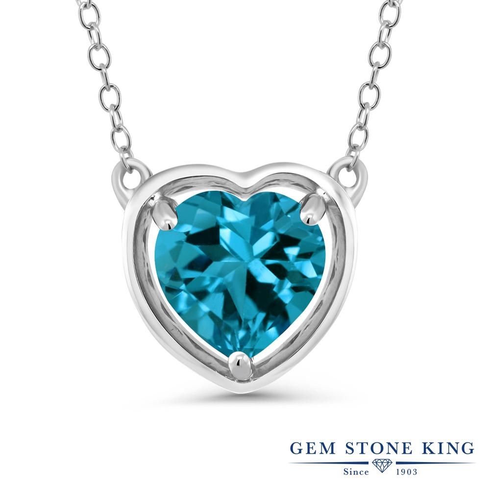 Gem Stone King 2.75カラット 天然トパーズ(ロンドンブルー) シルバー925 ネックレス ペンダント レディース 大粒 一粒 シンプル 天然石 誕生石 誕生日プレゼント