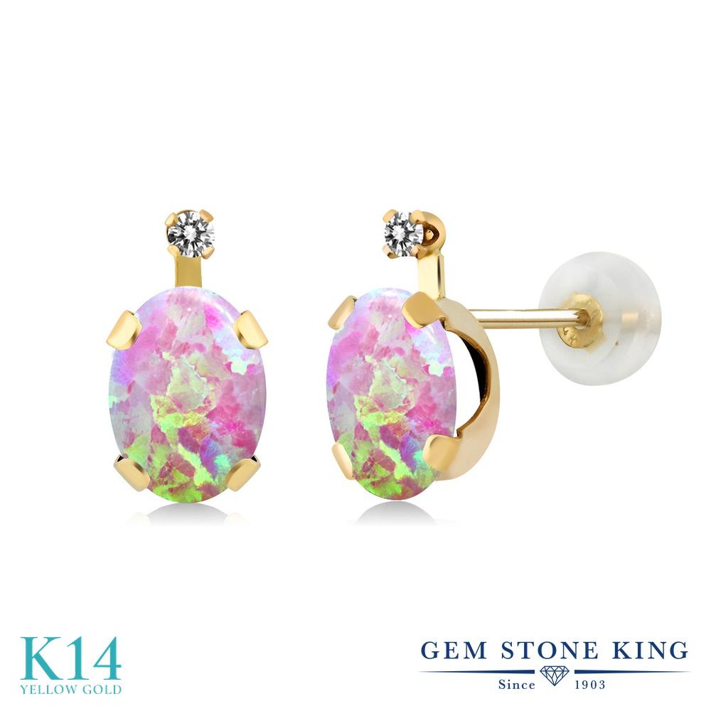 Gem Stone King 1.27カラット シミュレイテッド ピンクオパール 天然 ダイヤモンド 14金 イエローゴールド(K14) ピアス レディース スタッド 10月 誕生石 金属アレルギー対応 誕生日プレゼント