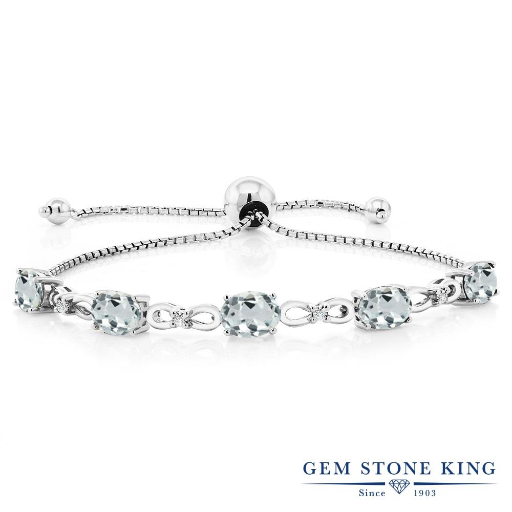 Gem Stone King 3.6カラット 天然 アクアマリン 天然 ダイヤモンド シルバー925 ブレスレット テニスブレスレット レディース 天然石 3月 誕生石 金属アレルギー対応 誕生日プレゼント