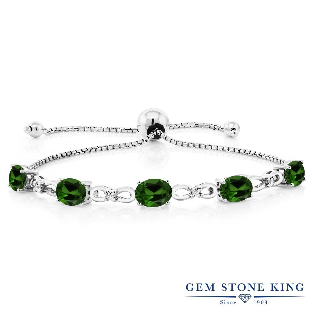 Gem Stone King 4カラット 天然 クロムダイオプサイド 天然 ダイヤモンド シルバー925 ブレスレット テニスブレスレット レディース 天然石 金属アレルギー対応 誕生日プレゼント