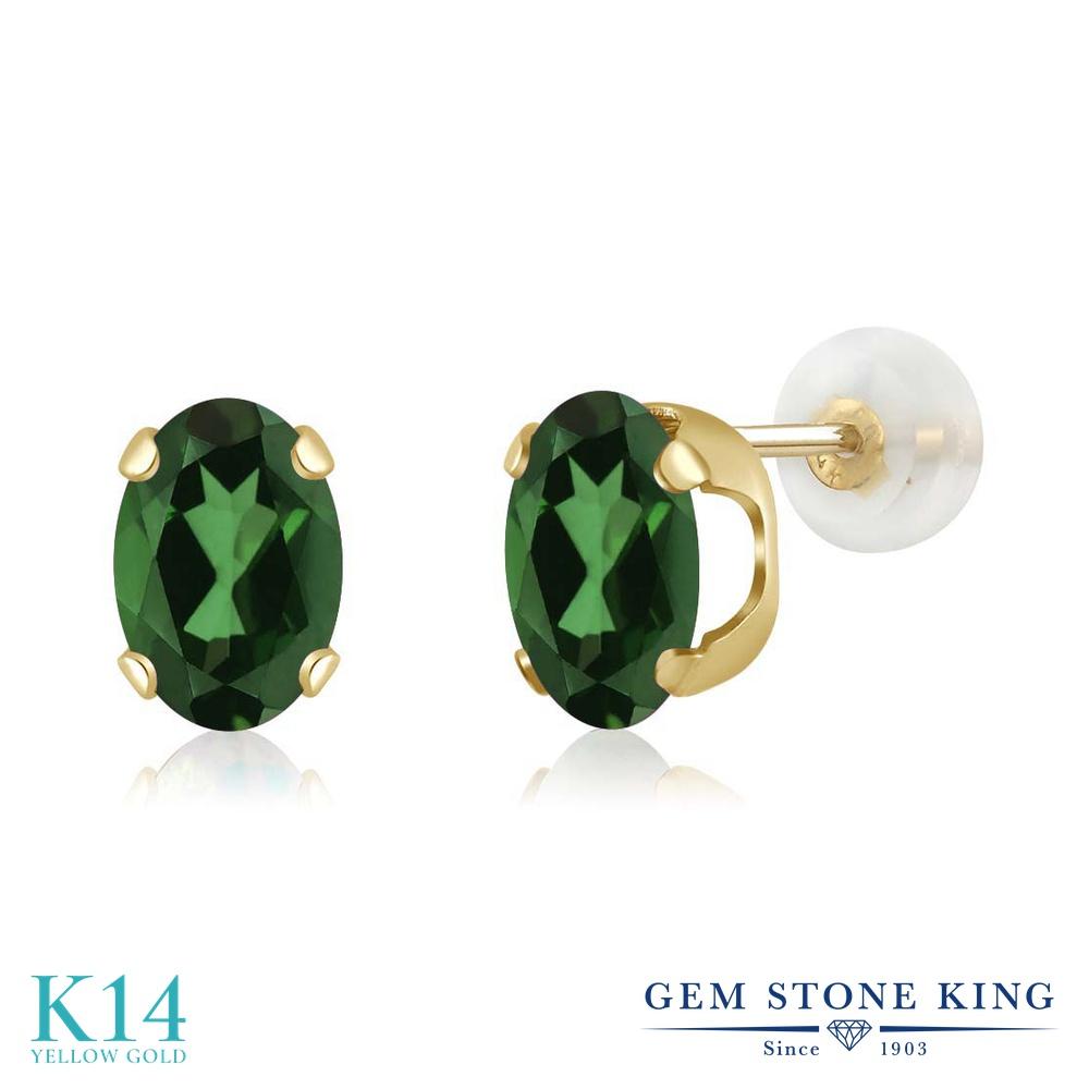 Gem Stone King 1.8カラット 14金 イエローゴールド(K14) ピアス レディース 大粒 シンプル スタッド 天然石 11月 誕生石 金属アレルギー対応 誕生日プレゼント