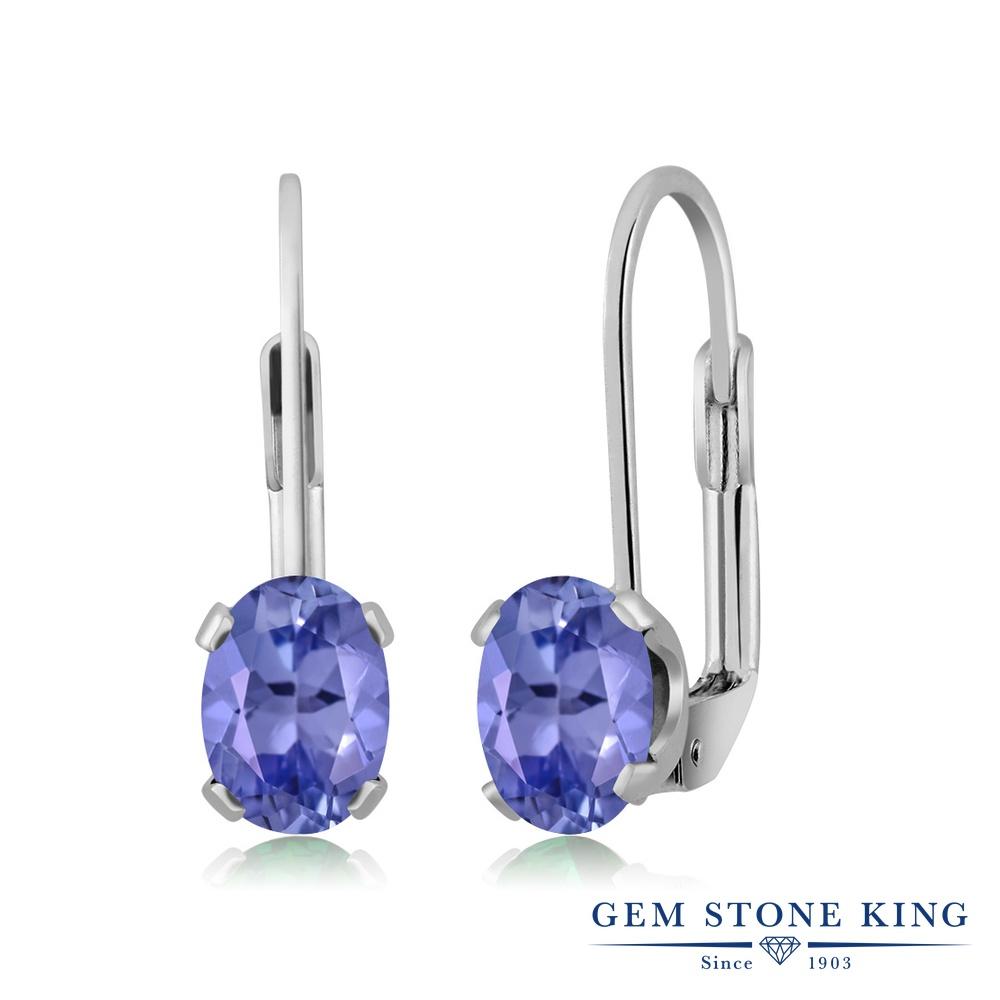 Gem Stone King 1.5カラット 天然石 タンザナイト ブラス シルバー プレーティング ピアス レディース 大粒 シンプル ぶら下がり レバーバック 天然石 誕生石 金属アレルギー対応 誕生日プレゼント