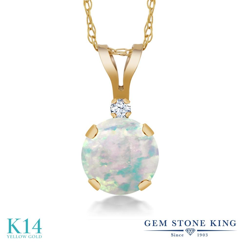 Gem Stone King 0.32カラット シミュレイテッド ホワイトオパール 合成ホワイトサファイア (ダイヤのような無色透明) 14金 イエローゴールド(K14) ネックレス ペンダント レディース 小粒 シンプル 10月 誕生石 金属アレルギー対応 誕生日プレゼント